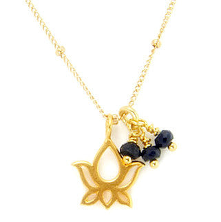 Gold Blooming Lotus Necklace w Sapphire Pranajewelry