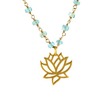 Lotus Necklace | Aquamarine | New Beginnings Compassion - Pranajewelry - 1