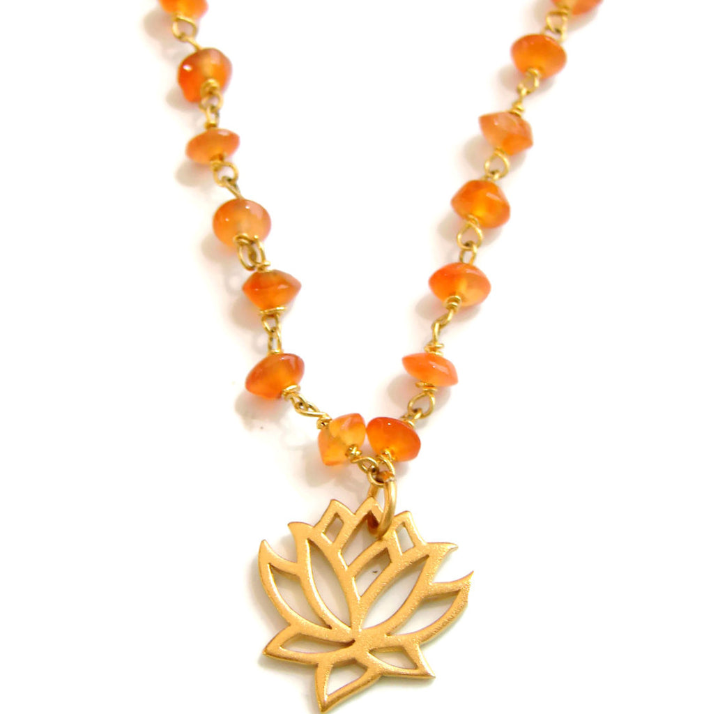 Lotus Carnelian Necklace- Radiant Beauty - Pranajewelry - 1