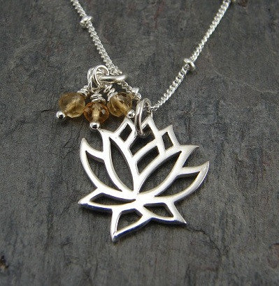 Lotus Necklace | Citrine Gemstones | Enlightenment, New Beginnings - Pranajewelry