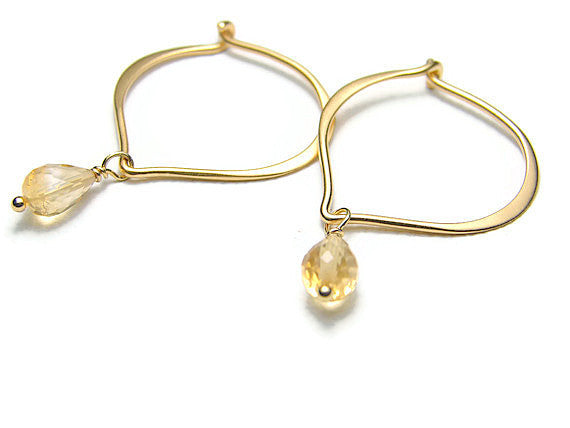 Lotus Citrine Earrings Hoops