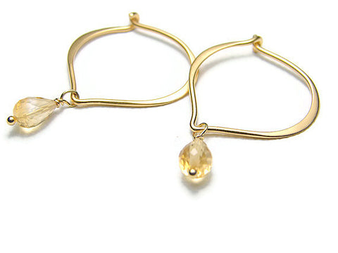 Lotus Citrine Earrings Hoops- Inner Beauty - Pranajewelry