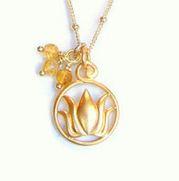 Lotus Citrine Gold Necklace- Inner Beauty - Radiance - Pranajewelry