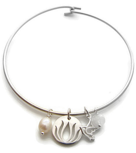 Lotus Dove Bangle w Moonstone Pearl - Freedom Purity New Beginnings - Pranajewelry