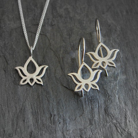 Lotus Sterling Silver Necklace Earring Set - New Begininngs - Pranajewelry