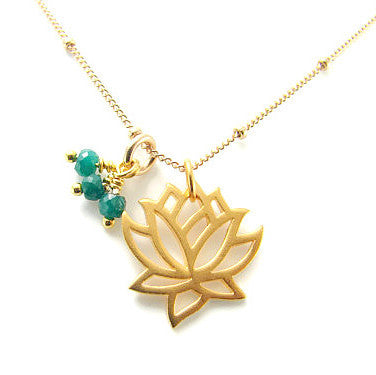 Gold lotus necklace with Emeralds