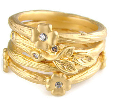 Stars and Natures Treasures - Gold Plated Ring With CZ - Pranajewelry
