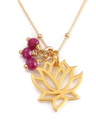 Lotus Ruby Necklace