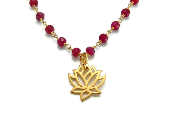 Ruby Gemstone Necklace with Gold Lotus Pendant- Love New Beginnings - Pranajewelry