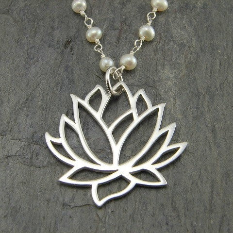 Large Lotus Pearl Gemstones Necklace - Purity Inner Beauty - Pranajewelry