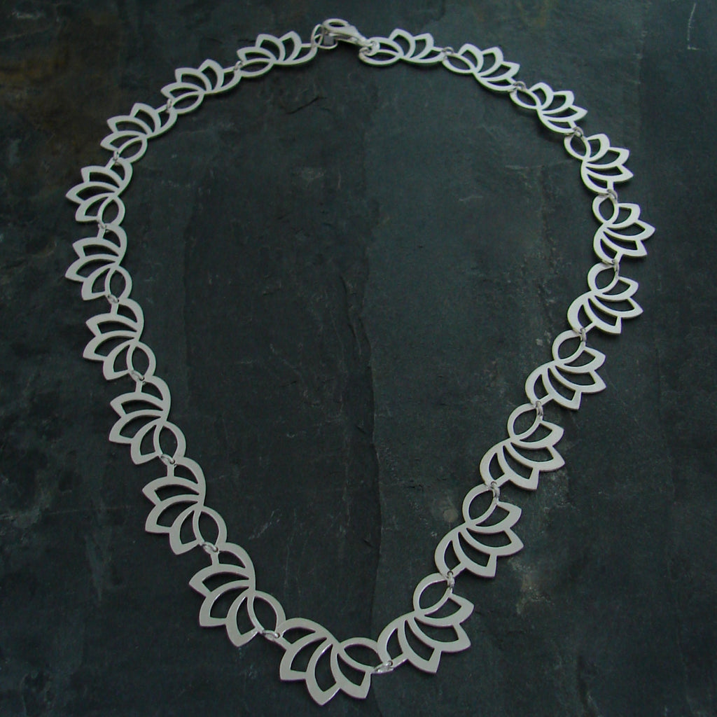 Lotus Necklace - Brushed Sterling Silver - Simply Beauty - Pranajewelry - 1