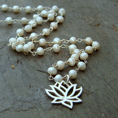 Pearl Lotus Necklace - Illumination, Beauty, Resilience - Pranajewelry