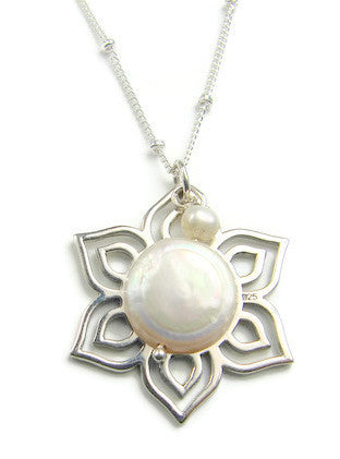 Moonlight Lotus Pendant Necklace- Inner Beauty Rejuvenation - Pranajewelry
