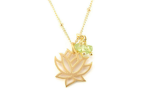Lotus Necklace | Peridot gemstones