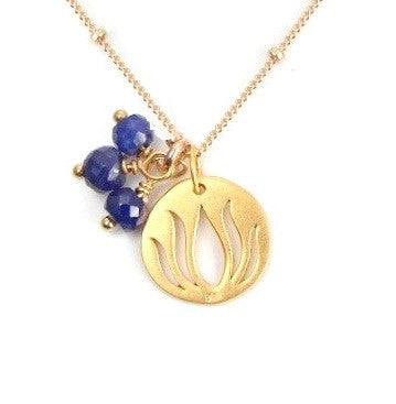 Lotus Sapphire Gold Necklace - Prosperity Inner Beauty - Pranajewelry