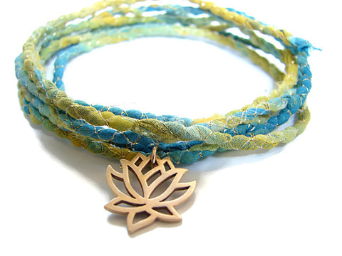 Bronze Lotus Silk Sari Blue Bracelet Wrap - Enlightenment - Pranajewelry