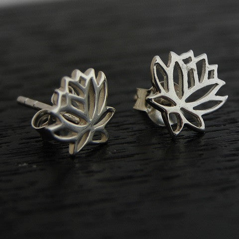 Mini Lotus Silver  Earrings Studs - New Beginings - Pranajewelry