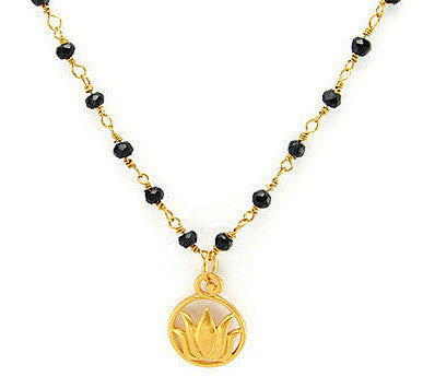 Mangalsutra Lotus Spinnel Necklace- Protection - Pranajewelry