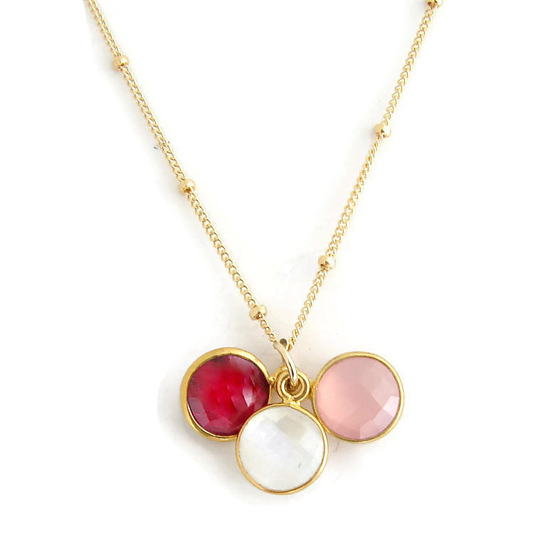 Love Hope New Beginnings Necklace |  Ruby Rose Quartz Moonstone gemstones - Pranajewelry