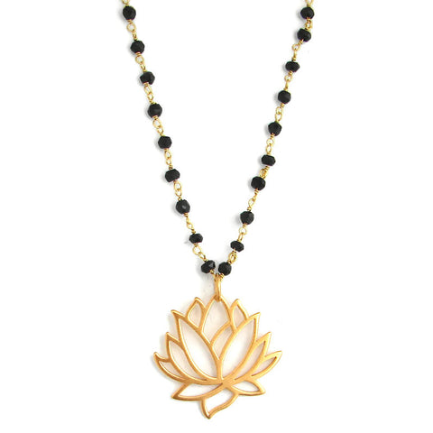 Mangalsutra - Awakening Large Lotus Necklace- Spinnel Gemstones - Pranajewelry - 1
