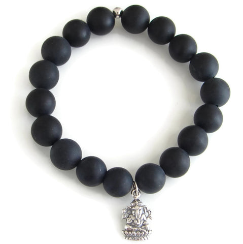 Mens Ganesh Bracelet, Black Onyx - Prosperity Protection - Pranajewelry - 1
