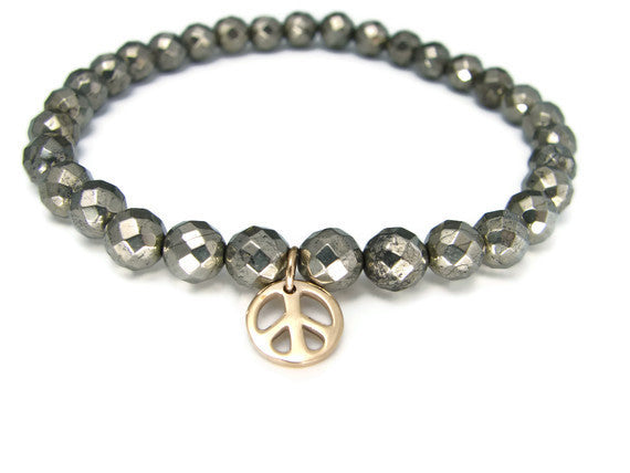 Mens Peace Bracelet | Pyrite Mens Bronze Peace Bracelet | Strength Peace - Pranajewelry