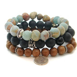 Mens Prayer Bracelets | Awaken your Inner light | Om,  Black Onyx,  African Opal - Choose 1 or all - Pranajewelry - 1