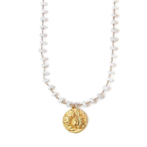 Moonstone Lotus Necklace