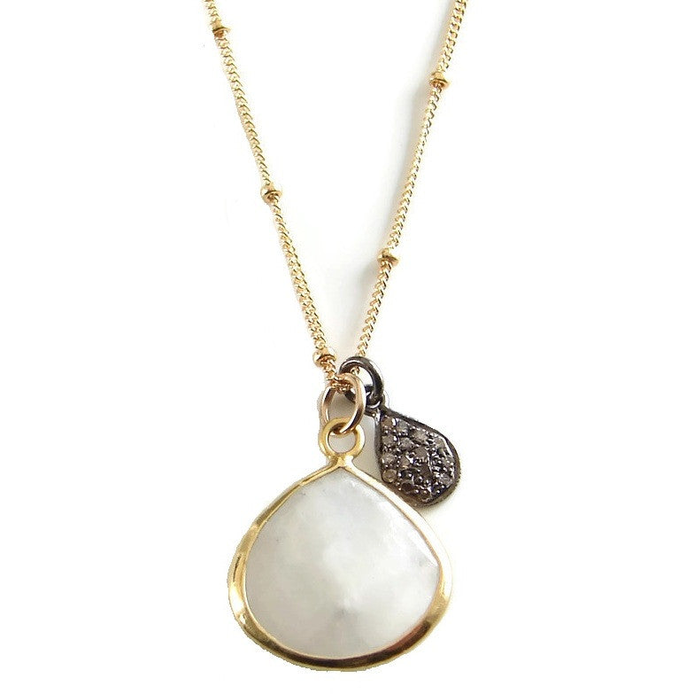 Diamond Moonstone Necklace - Passion Unconquerable Love - Pranajewelry