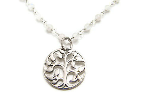 Tree of Life Moonstone Necklace- Purity Wisdom Grounding - Pranajewelry