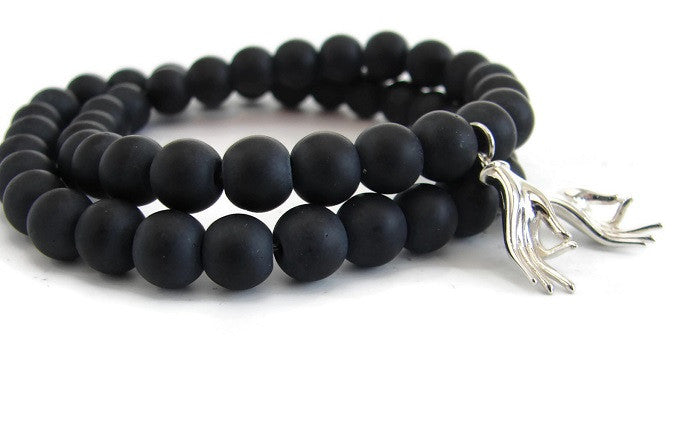 Mudra Black Onyx Bracelet His and Hers Set -