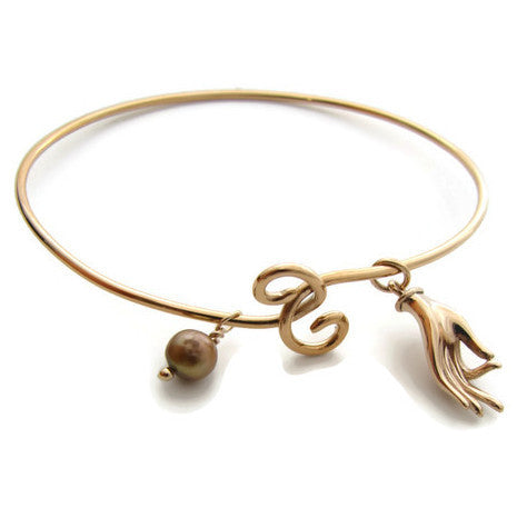 Mudra Bangle in Bronze with  Pearl - Compassion - Pranajewelry