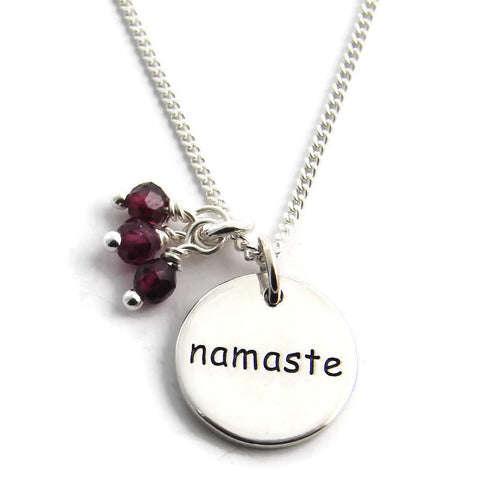 Namaste Necklace Garnet Gemstones-Yoga inspired Jewelry- Honor Love Yoga Jewelry - Pranajewelry