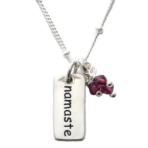 Namaste Garnet Gemstone Necklace - To Honor the Soul - Pranajewelry