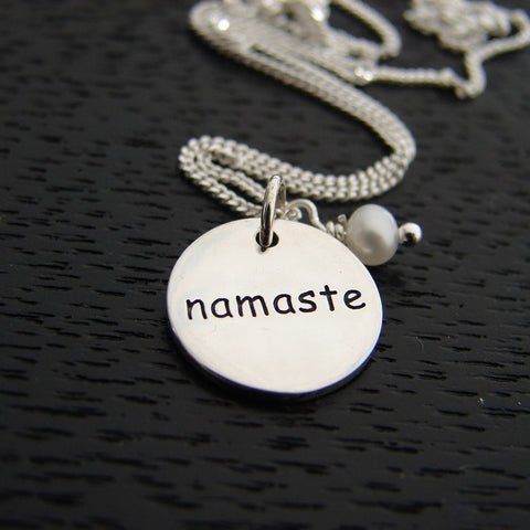 Namaste Pearl Necklace - Yoga Jewelry for the Soul - Pranajewelry