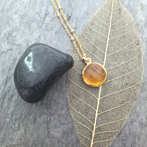 November Citrine Birthstone - Citrine Gemstone Gold Necklace- Prosperity Optimism - Pranajewelry