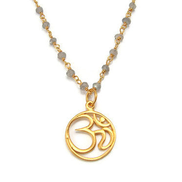 OM Necklace -  Labradorite Gemstone - Yoga Jewelry