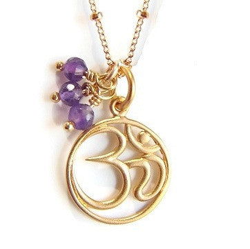 OM Necklace | Amethyst Gemstone |  Harmony Calmness | Yoga Jewelry - Pranajewelry