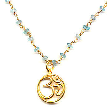OM Aquamarine Yoga  Necklace - Compassion Harmony - Pranajewelry