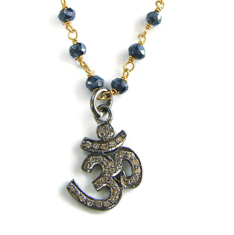 Mangalsutra OM Diamond Pyrite Necklace - Harmony Protection - Yoga Jewelry - Pranajewelry