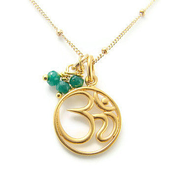 ॐ Om Emerald Necklace | Yoga Jewelry  |  Harmony Inner Beauty - Pranajewelry