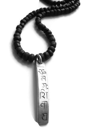 Shiva Mantra Necklace Black Bali Sea Glass Bead - Pranajewelry