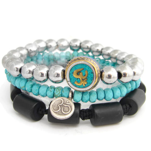 Om Bracelet Set Turquoise Onyx - Friendship Protection Prosperity - Pranajewelry - 1