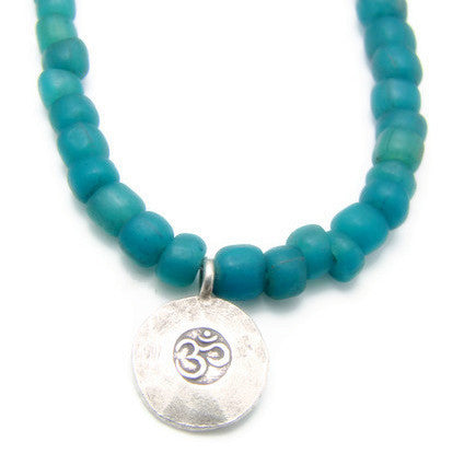 Om Pendant Necklace Green Bali Sea Glass Beads- Harmony - Pranajewelry