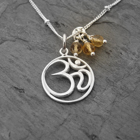 Om Necklace | Citrine Gemstones