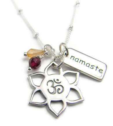 Yoga Necklace | OM Lotus Namaste Necklace with Garnet Citrine Gemstone - Pranajewelry