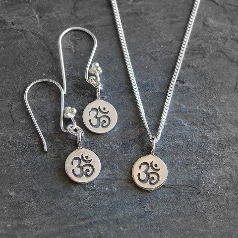 Om Sterling Silver Necklace & Earrings- Intuition Harmony - Pranajewelry