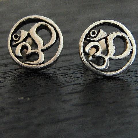 Om Round Earrings - Harmony Peace - Pranajewelry