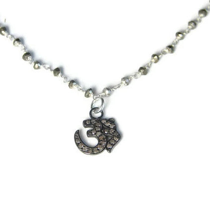 Diamond Om Necklace with Pyrite Gemstone