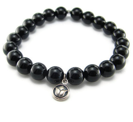 Lotus Black Onyx Bracelet  - Strength Beauty - Pranajewelry